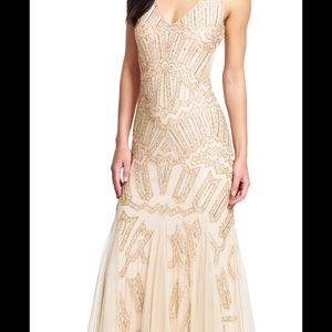 Adrianna Papell ball gown gold